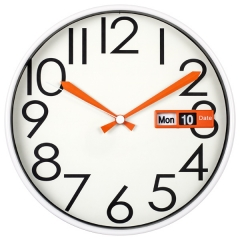 "12"" Plastic date & day wall clock"