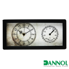 Wooden Table Clock with Temperature