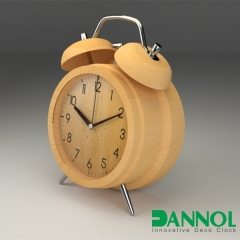 Twin Bell Wooden Table Clock
